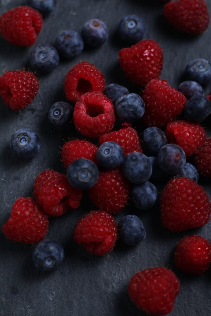 Blueberries and aspberries