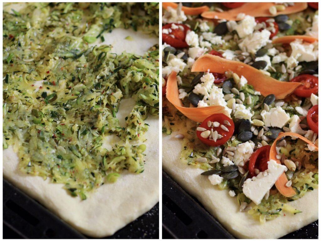 Zucchini and Feta Pizza